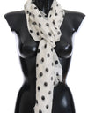 White Black Polka Dotted Silk Scarf