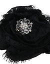 Black Silk Clear Crystal Lace Hair Claw