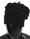 Black Knitted Cashmere Silver Fox Fur Hat