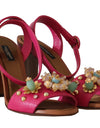 Pink Leather Crystal Flower Sandals