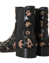 Dolce & Gabbana Black Leather Leopard Chelsea Boots - xanders-shopping