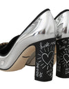 Silver Leather Mirrored Crystal Pumps