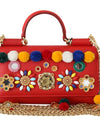 Dolce & Gabbana Red VON Leather Crystal Carretto POM POM Bag - xanders-shopping