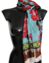 Blue Red Roses Cashmere Silk Wrap Scarf