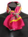 Pink Multicolor Square Silk Wrap Shawl