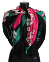 Multicolor Floral Bengal Cat Silk Shawl Wrap Scarf