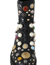 Black Leather Pearl Studded Boots