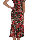 Silk Stretch Red Roses Sheath Gown - xanders-shopping