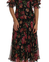 Dolce & Gabbana Black Floral Roses A-Line Shift Gown - xanders-shopping