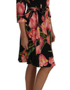 Black Pink Tulip Print Stretch Shift Dress