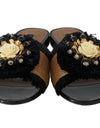 Dolce & Gabbana Black Brown Straw Crystal Flip Flops - xanders-shopping