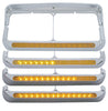Sequential LED Rectangular Dual Headlight Bezel w/ Visor