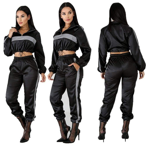 2 Piece Reflective Crop Top Long Pant Female Loose Pullover Sports Set