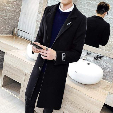 Autumn and Winter Solid Color Windbreaker Woolen Fashion Long Windbreaker Jacket