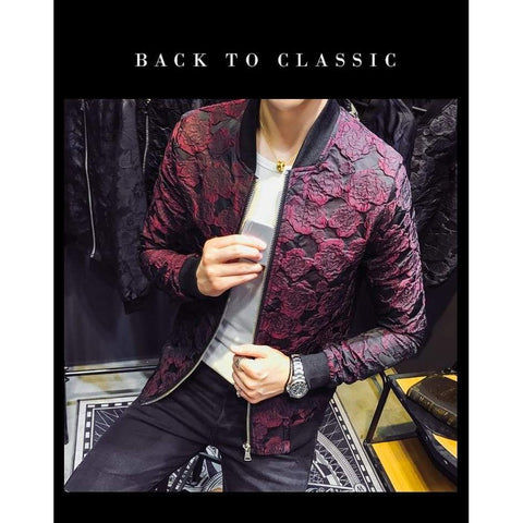 Autumn Jacquard Bomber Luxury Wine Red Black Grey Party Club Bar Casaca Hombre Jacket
