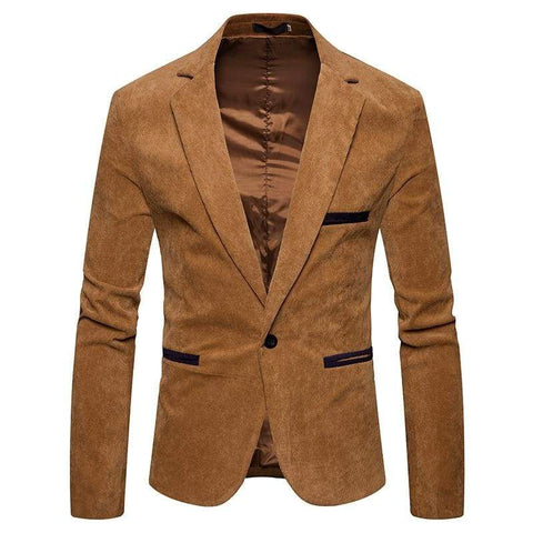 Autumn Men Casual Suit Solid Color Corduroy Worsted Fabric Pocket Button Decorate Blazer