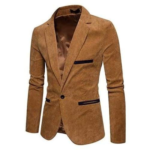 Autumn Men Casual Suit Solid Color Corduroy Worsted Fabric Pocket Button Decorate Blazer - Moolokai Apparel
