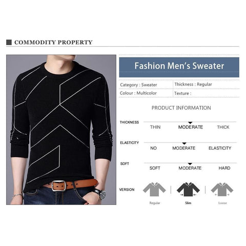 Autumn Winter Fashion Mens O Neck Slim Fit Breathable Solid Color Sweater