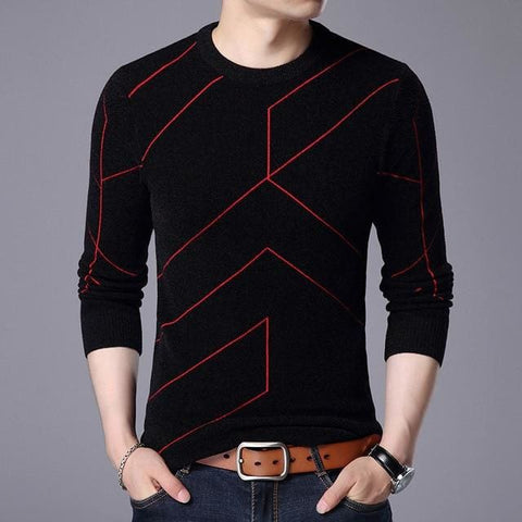Autumn Winter Fashion Mens O Neck Slim Fit Breathable Solid Color Sweater - Moolokai Apparel