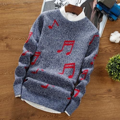 Autumn Winter New Style Personalized Print Pullover Trend Round Neck Wild Knit Bottoming Sweater - Moolokai Apparel