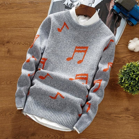 Autumn Winter New Style Personalized Print Pullover Trend Round Neck Wild Knit Bottoming Sweater