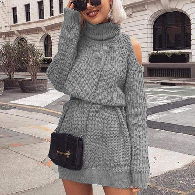 Autumn Winter Turtleneck Off Shoulder Knitted Sweater Dress Solid Slim Long Pullovers Jumper - Moolokai Apparel