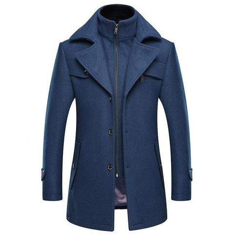 Autumn Winter Yellow Woolen Slim Size Windbreaker Thick Extra Long Wool Mens Casual Overcoat