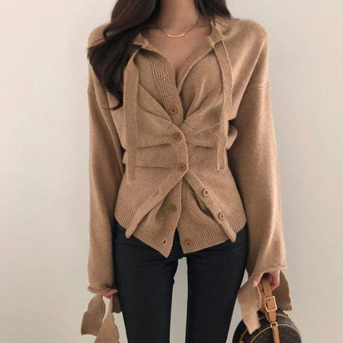 Autumn Women Wild Ladies Irregular Single-breasted Knit Sweaters Coat