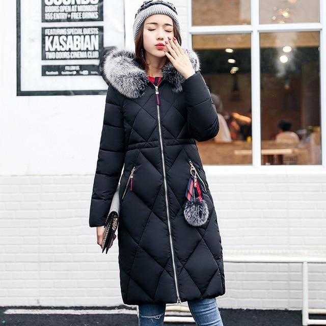 Big Fur Winter Thickened Parka Stitching Slim Long Winter Down Cotton Ladies Jacket - Moolokai Apparel