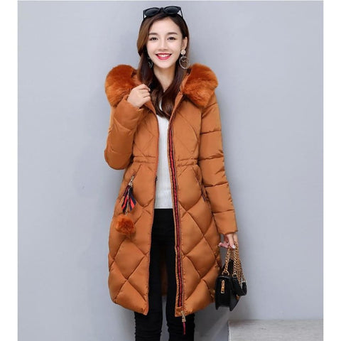 Big Fur Winter Thickened Parka Stitching Slim Long Winter Down Cotton Ladies Jacket
