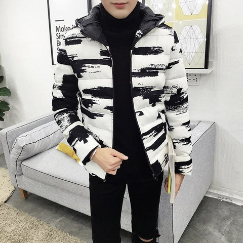 Black & White Casual Warm Thick Cotton Padded Winter Hooded Male Jacket