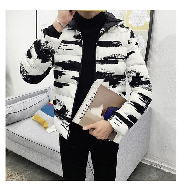 Black & White Casual Warm Thick Cotton Padded Winter Hooded Male Jacket - Moolokai Apparel