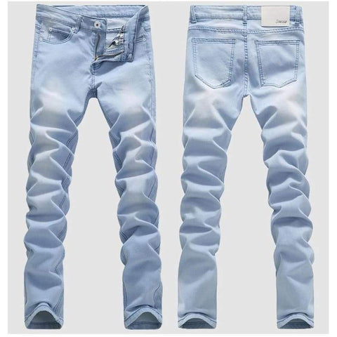 Blue Skinny Spring Summer Stretch Slim High Quality Cotton Casual Denim Jeans - Moolokai Apparel
