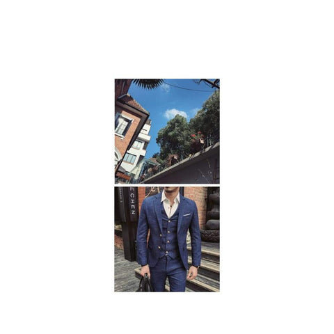 Boutique Plaid Formal Business 3 Piece High-end Casual Suits Jacket + Vest + Pants