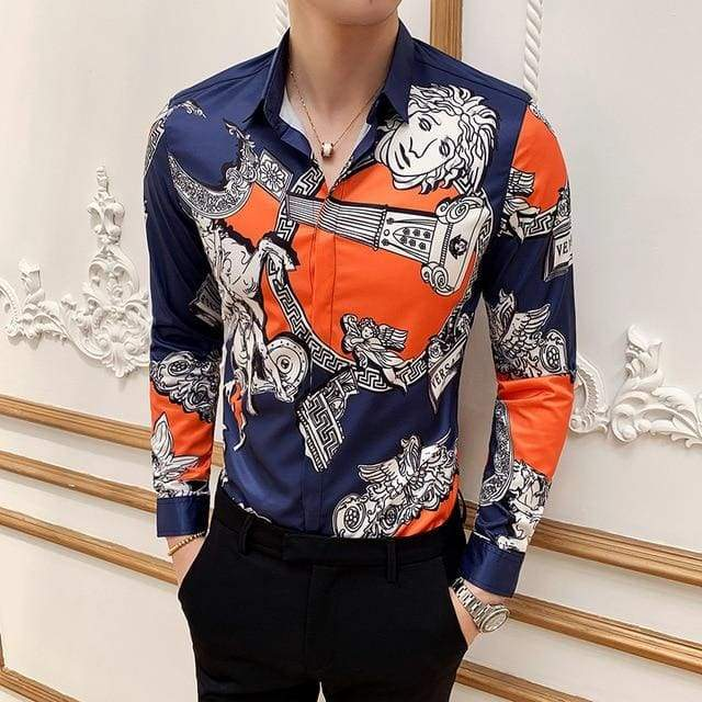 Boutique Print Casual Slim Fit Mens Long-sleeved High-end Social Brand Club Prom Dress Shirt - Moolokai Apparel