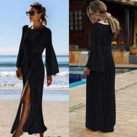 Casual Hollow Knitted Beach Long Sleeve Bikini Cover Up Maxi Holiday Dress