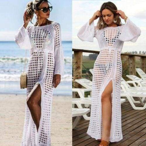 Casual Hollow Knitted Beach Long Sleeve Bikini Cover Up Maxi Holiday Dress-Moolokai Apparel-White-One Size-Moolokai Apparel