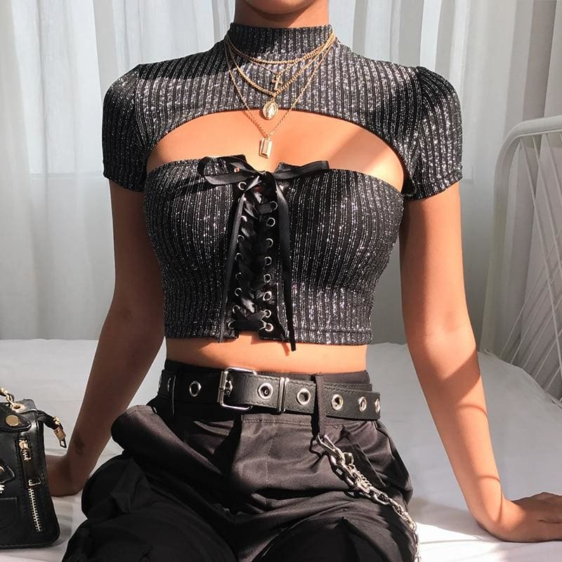 Casual Short Sleeve Glitter T Women Bandage Elegant Ladies Hollow Out Sexy Party Crop top