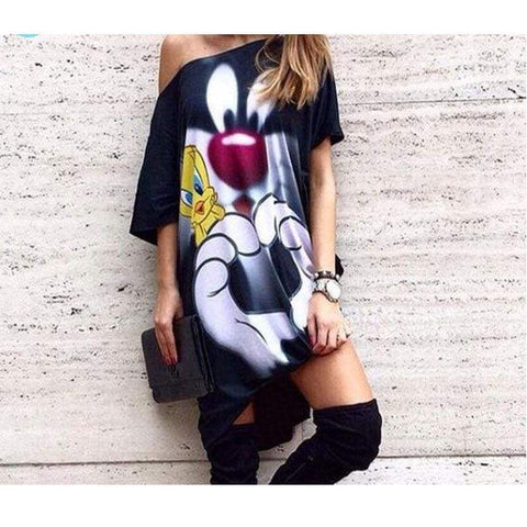 Character Printed Women Casual Blouse One Shoulder Summer Autumn Punk Body Top Lady Size Shirt - Moolokai Apparel