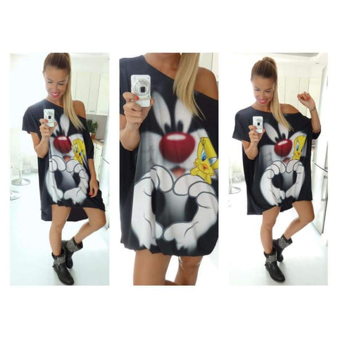 Character Printed Women Casual Blouse One Shoulder Summer Autumn Punk Body Top Lady Size Shirt