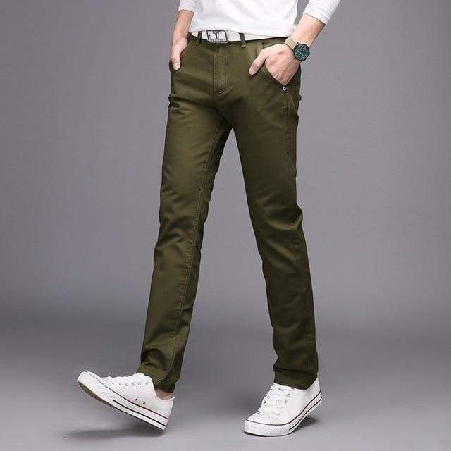 Cotton Slim Casual Leisure Straight Trousers Business Solid Long Leg Pencil Pantalon Pants-Moolokai Apparel-Army Green-28-Moolokai Apparel