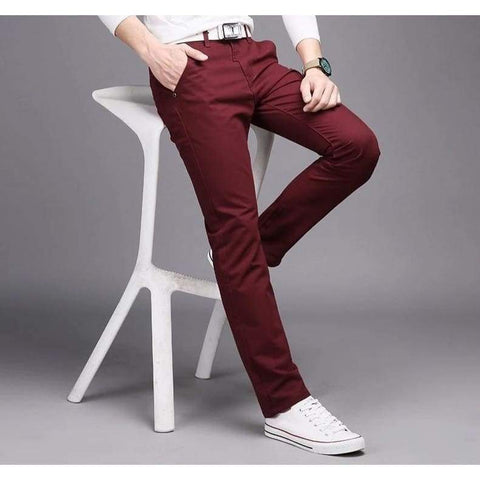 Cotton Slim Casual Leisure Straight Trousers Business Solid Long Leg Pencil Pantalon Pants - Moolokai Apparel