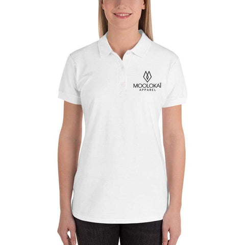 Moolokai Apparel Embroidered Women's Polo Shirt-Custom-Moolokai Apparel-White-L-Moolokai Apparel