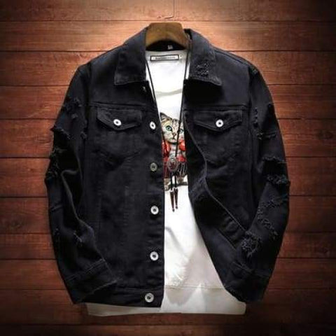 Denim Trendy Hip Hop Streetwer Ripped Denim Male Cowboy Jackets - Moolokai Apparel