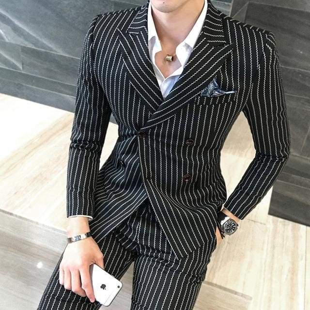 Double-Breasted Striped Groom Wedding Casual Business Suit Jacket + Vest +Pants - Moolokai Apparel