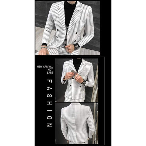 Double-Breasted Striped Groom Wedding Casual Business Suit Jacket + Vest +Pants