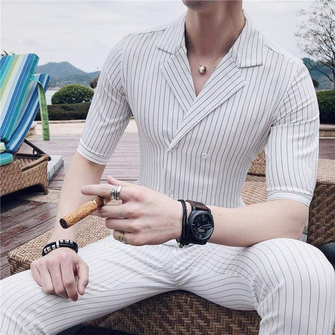 Double Breasted Summer Stripe Smoking Uomo Trajes De Hombre Set / business men suits summer