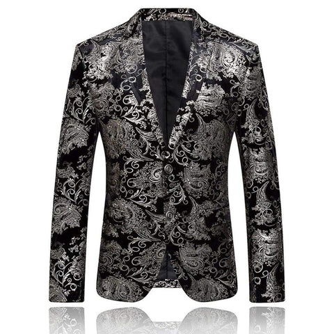 Dress Floral Suit Notched Lapel Slim Fit Button Stylish Blazer Coat Jacket / blazers men night