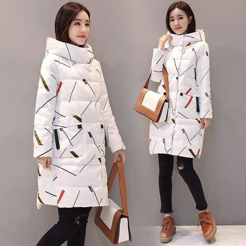 Elegant Long Sleeve Warm Zipper Office Lady Winter Hooded Long Parka Jacket - Moolokai Apparel