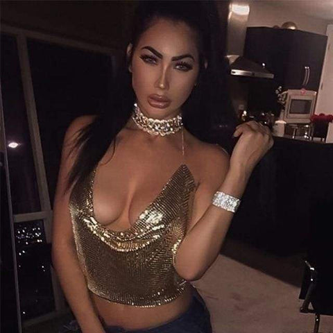 Elegant Metal Crop Top Summer Sexy Club Backless Bralette Beach Halter Sequined Party Tank Top / night summer tops woman